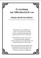 Eine sehr schoene und ausgefallenen Silberhochzeitszeitung von Monika und Herbert http://www.thrich.de